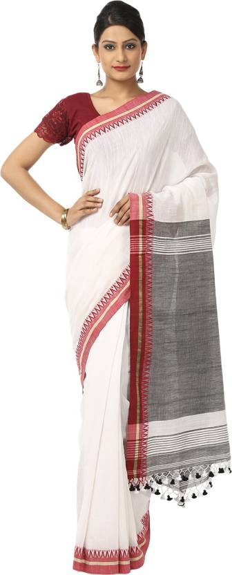 a9a90bcce5973 Buy The Weave Traveller Solid Bhagalpuri Khadi White Sarees Online ...