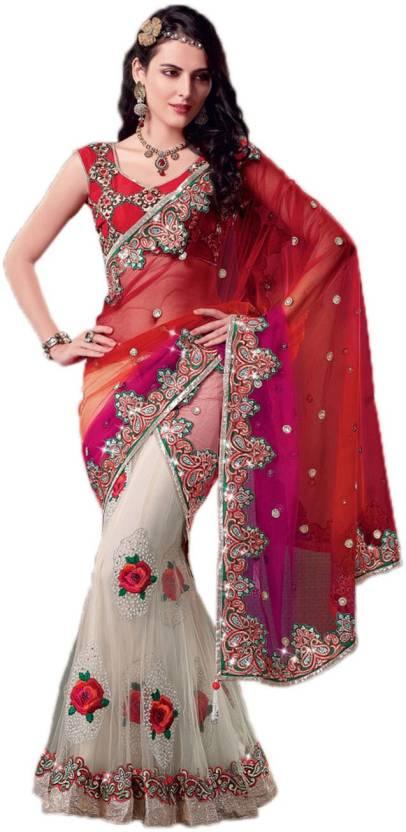 Ambaji Floral Print Fashion Net Sari