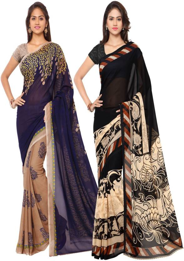 bb340ee6ed Kashvi Sarees Printed Daily Wear Georgette Saree (Pack of 2, Multicolor)
