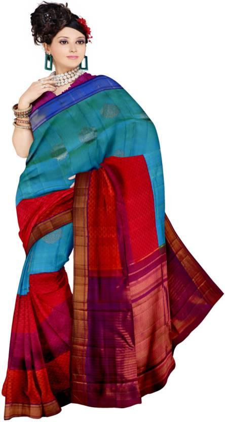 c012d250129e7c Buy Samyakk Printed Silk Blue, Purple, Red Sarees Online @ Best ...