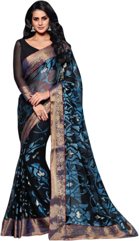 6f0804165a Buy Vishal Floral Print Fashion Brasso Black Sarees Online @ Best ...