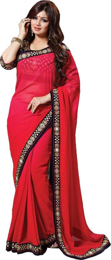 ca4be7ae80 Buy Bollywood Designer Self Design Bollywood Georgette Red Sarees ...