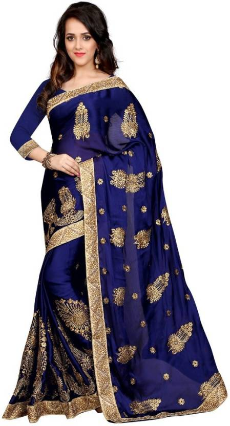 Sargam Fashion Self Design, Embroidered, Embellished Fashion Chiffon Saree
