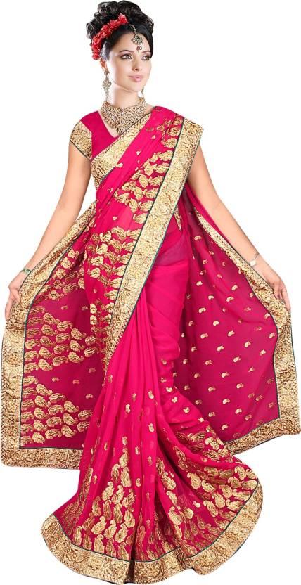 769e191077 Buy Aakriti Sarees Embroidered Fashion Chiffon Pink Sarees Online ...