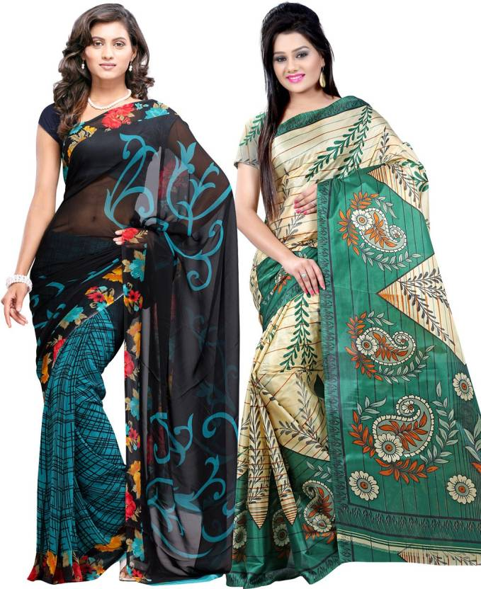 Ambaji Floral Print Daily Wear Georgette, Silk Saree