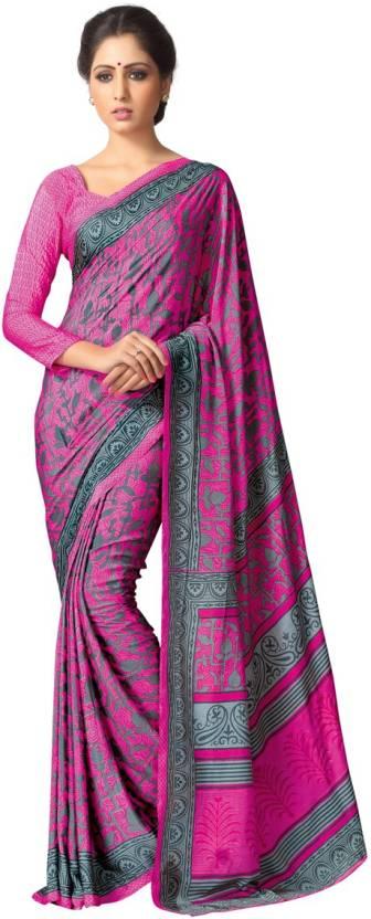 a3f57c5117 Buy Sanjana Designer Printed Bollywood Crepe Pink Sarees Online ...