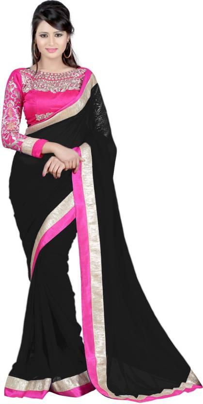 031f5f4fb72f5 Buy Lady Choice Embroidered Bollywood Chiffon Black Sarees Online ...