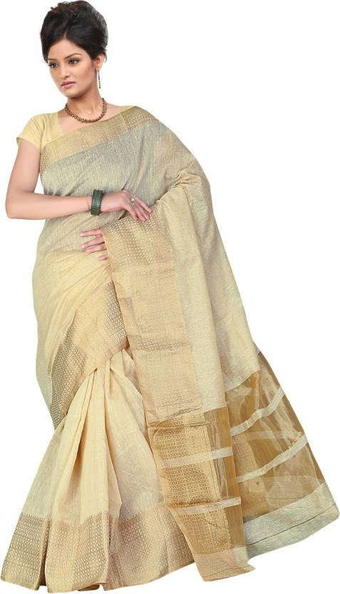 9c6f9075ea Buy Tagbury Self Design Sambalpuri Cotton Beige Sarees Online @ Best ...