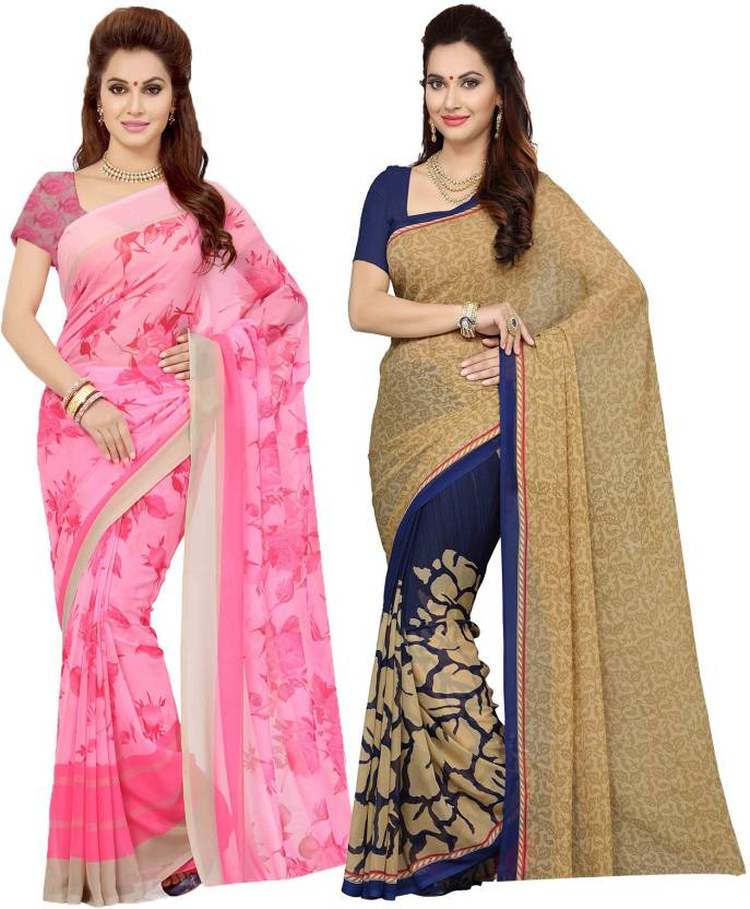 578eb9f31b Ishin Printed Fashion Synthetic Georgette Saree (Pack of 2, Multicolor)
