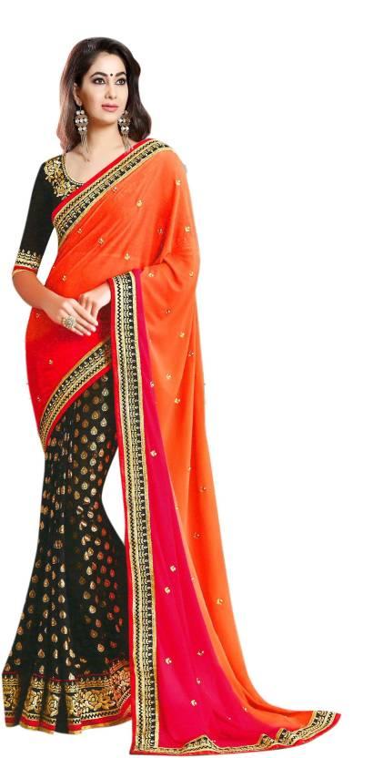 20edd4dc1ceb31 Buy K.C Self Design Bollywood Georgette Black, Orange Sarees Online ...