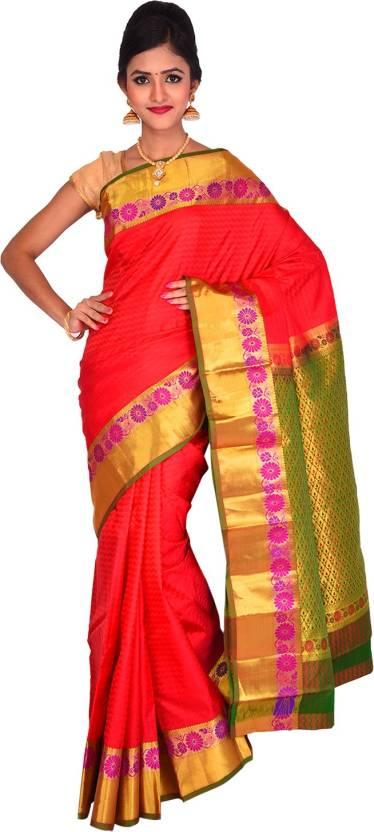 2544a77dd257f2 Buy Vallalar Silks Self Design Kanjivaram Pure Silk Multicolor ...