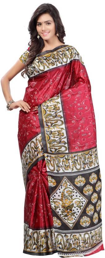 Ambaji Floral Print Daily Wear Taffeta Saree