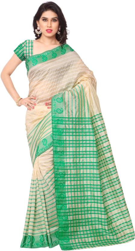 Minimum 70% off On Sarees By Flipkart | Sarvagny Clothing Self Design Fashion Art Silk Sari  (Green) @ Rs.562