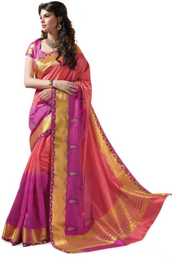 8ec6a021d9f Buy Ashika Printed Fashion Tussar Silk Pink