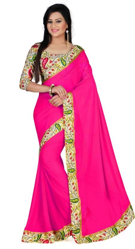 b01d093b39 Buy Gazal Fashions Solid Fashion Chiffon Multicolor Sarees Online ...