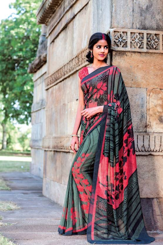 3ff0de401d Buy Laxmipati Sarees Solid Fashion Georgette Green, Pink Sarees ...