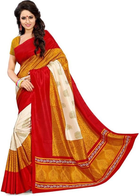 bcb4b75b77 Buy Sargam Fashion Printed Banarasi Art Silk Red Sarees Online ...