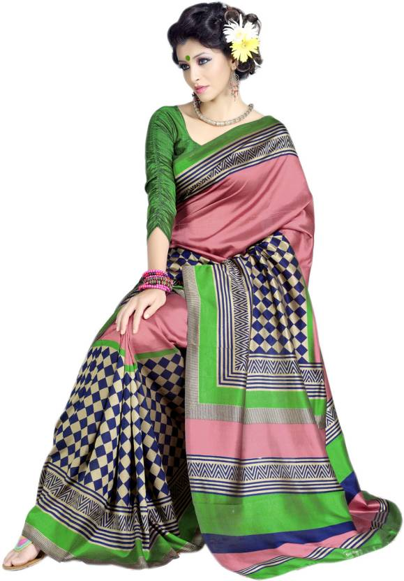 Sunaina Printed Art Silk Saree  (Multicolor)