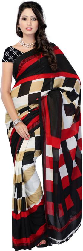 Ambaji Checkered Daily Wear Georgette Saree