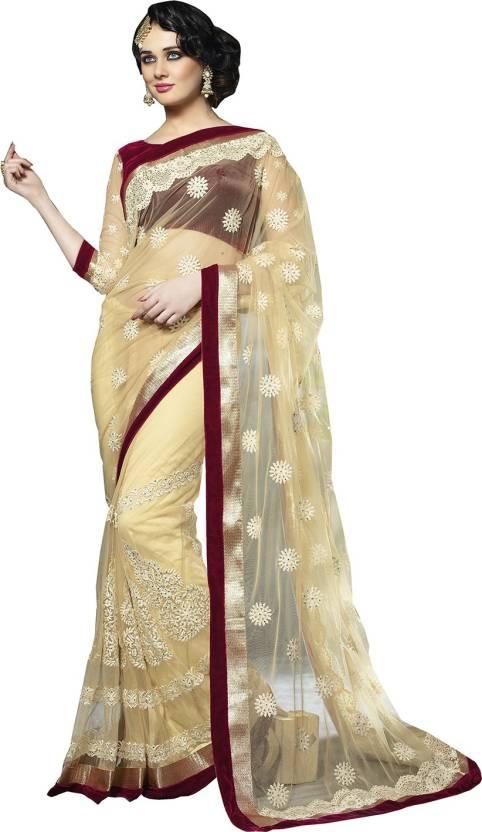 Ishin Solid Fashion Net Sari