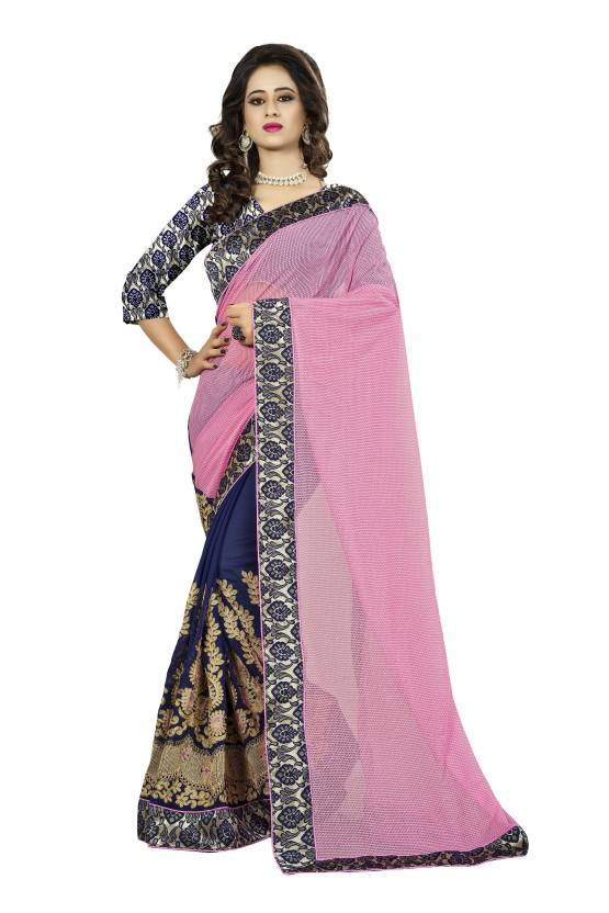 Buy Aashvi Creation Embroidered Self Design Fashion Georgette Multicolor Sarees Online Best