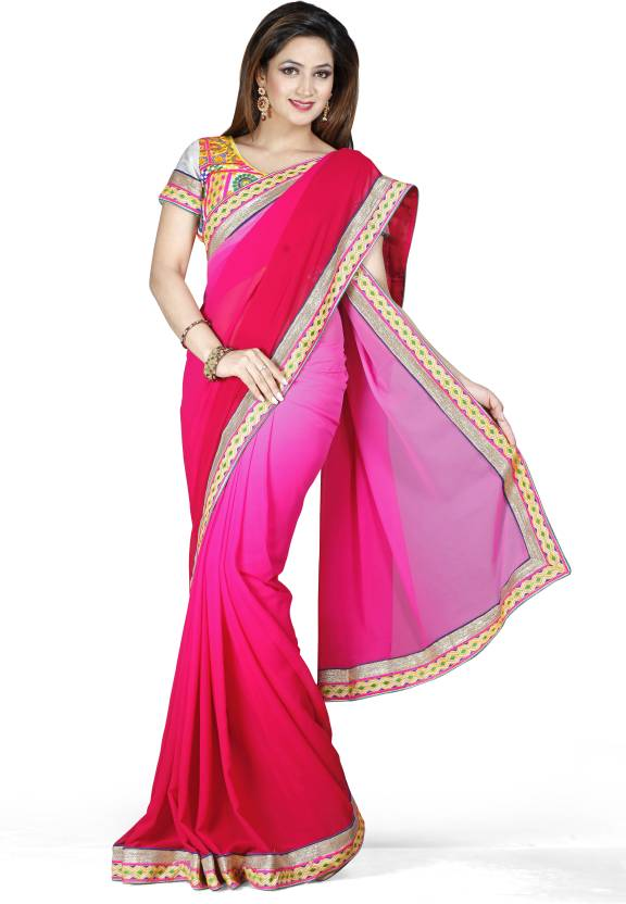 Ishin Solid Fashion Georgette Sari