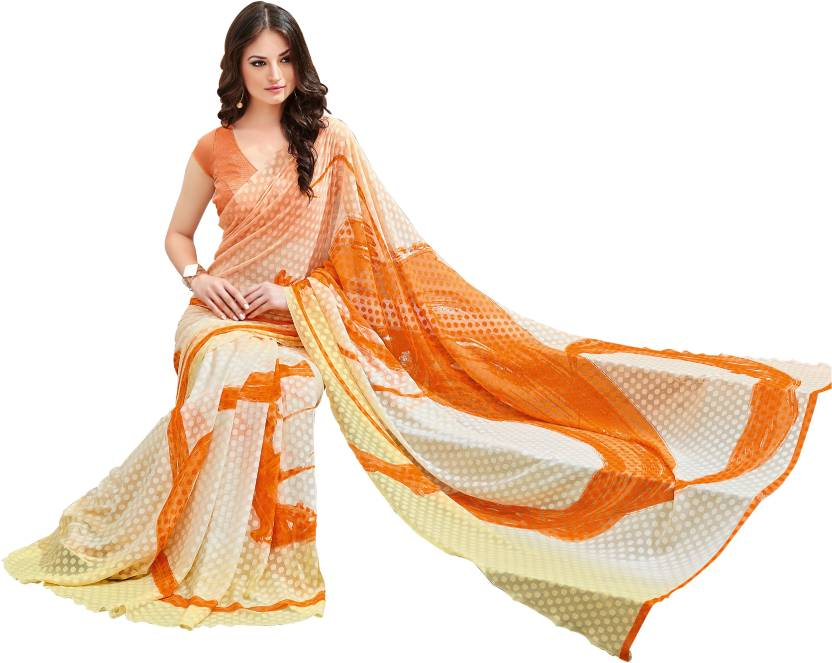 0ab3ed01b0d Buy Kisah Printed Daily Wear Synthetic Georgette Orange Sarees ...