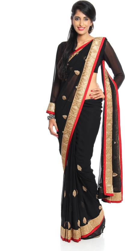 20aa814b38 Buy Soch Solid Fashion Georgette Black Sarees Online @ Best Price In ...