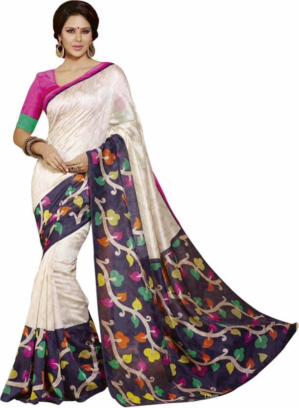 241bdfb845017 Buy KALYAN SILK WORLD Printed Mysore Art Silk Multicolor Sarees ...