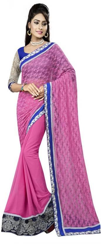 Welcome Fashion Striped Bollywood Chiffon Sari