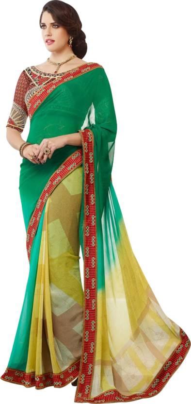 d917a6fdb43848 Buy Cbazaar Printed Fashion Georgette Green Sarees Online @ Best ...