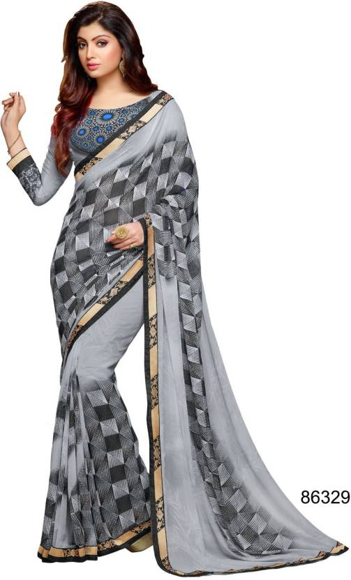 41fae3e05e Buy Bahubali Printed Bollywood Pure Georgette Grey Sarees Online ...