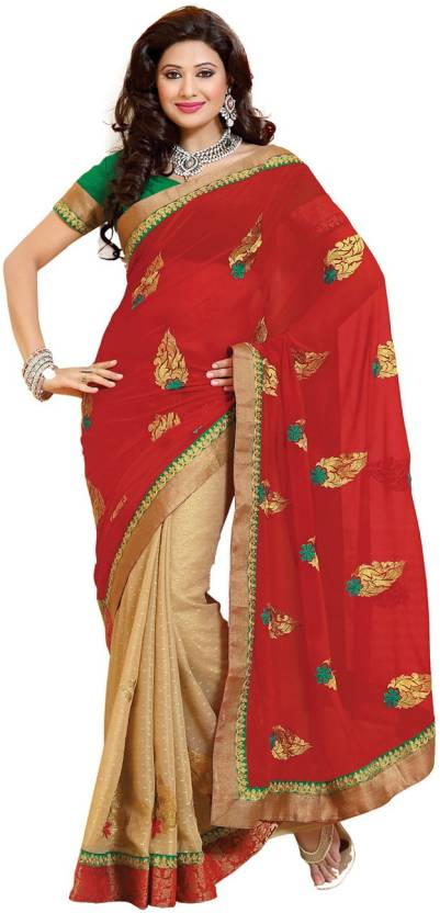 Ambaji Solid Fashion Georgette, Satin Saree