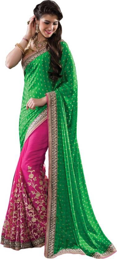 ad2b1176f5 Buy Neerus Self Design Fashion Banarasi Silk, Georgette Green, Pink ...