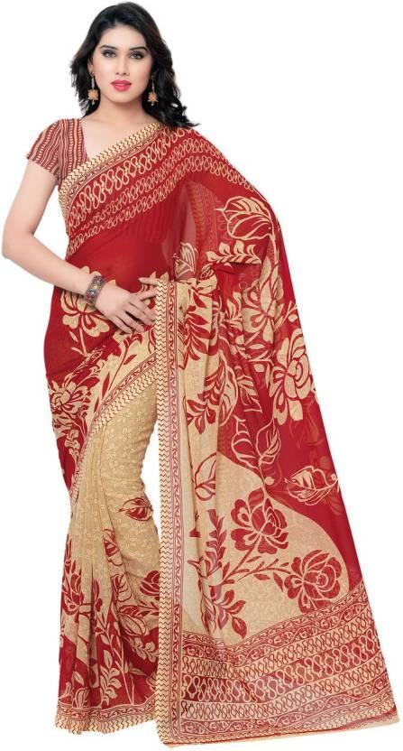 fb87bfda3d Kashvi Sarees Floral Print Daily Wear Georgette Saree (Red, Beige)