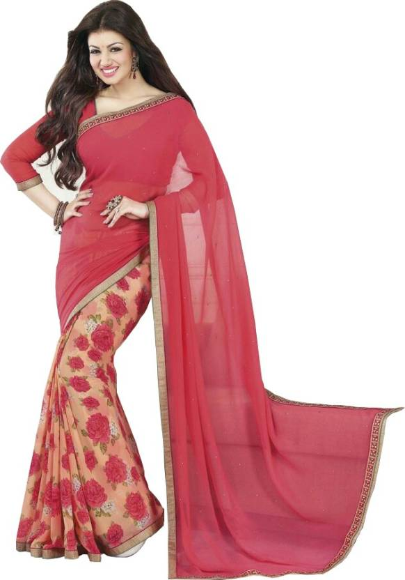 68cb935643efaa Buy RadadiyaTRD Printed Fashion Georgette Red Sarees Online @ Best ...