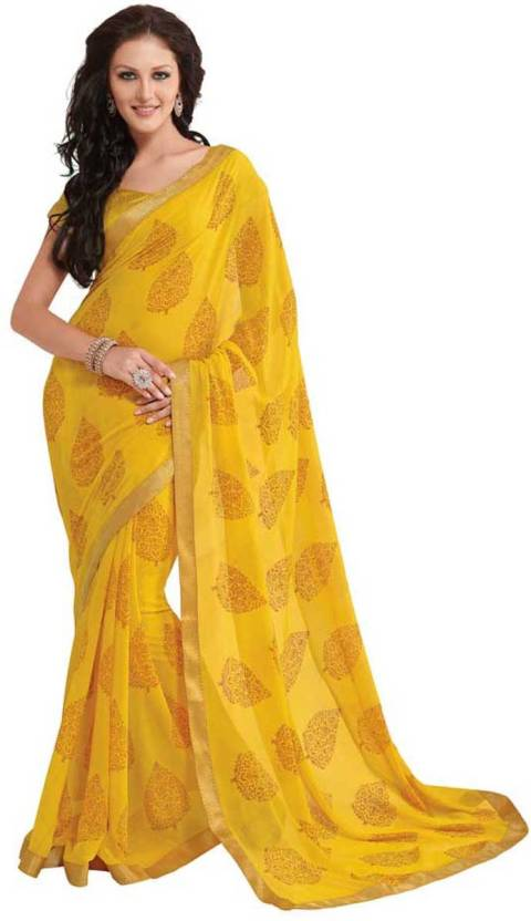 b522ebca0 Buy Subhash Sarees Printed Daily Wear Georgette Yellow Sarees Online ...