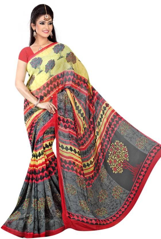 6721bd71e473de Snehpriya Creation Geometric Print Bollywood Handloom Georgette Saree (Black )