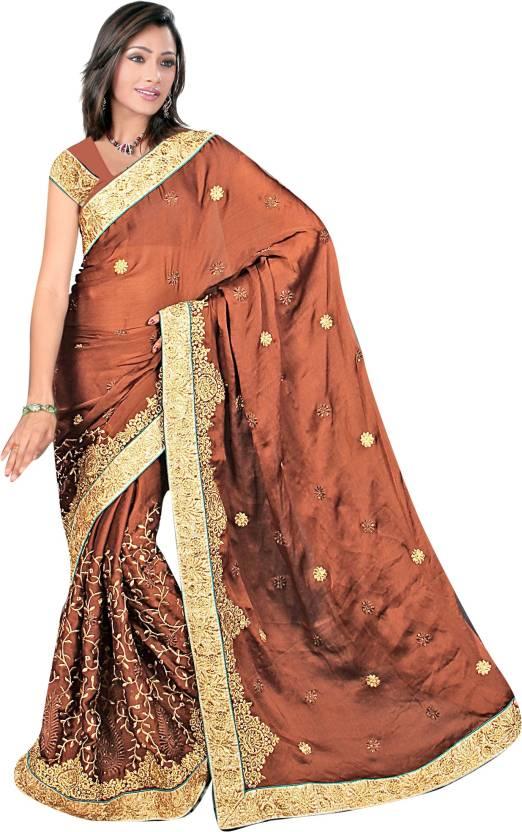 c236662610 Buy Aakriti Sarees Embroidered Fashion Chiffon Brown Sarees Online ...