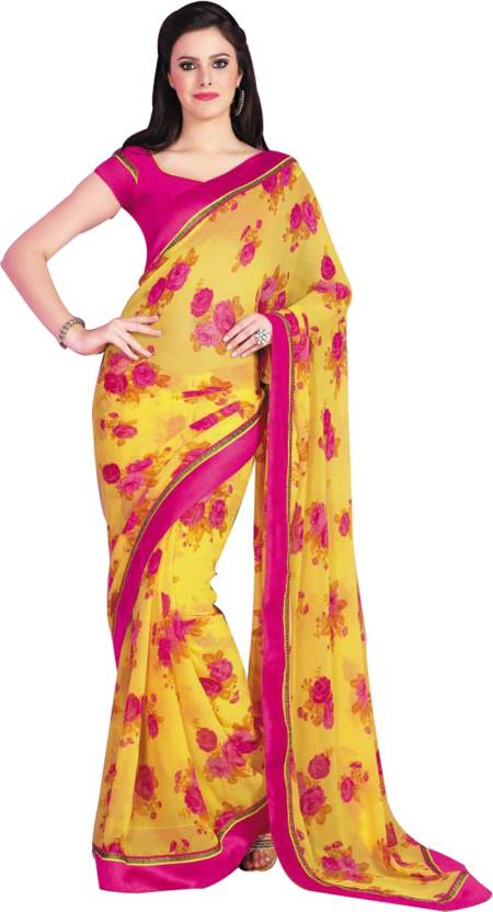 957d6c413f Buy Vishal Floral Print Daily Wear Georgette Yellow Sarees Online ...