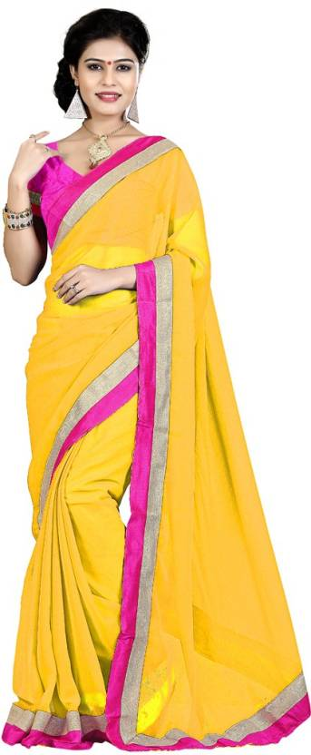 05004bb21a1e Buy Indian Wear Online Plain Fashion Chiffon Yellow Sarees Online ...