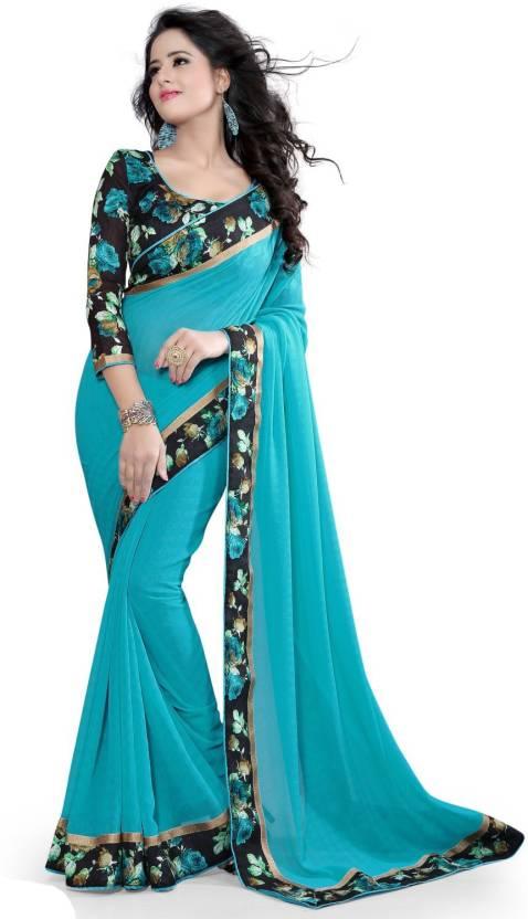 40%-80% off On Women`s Clothing By Flipkart | Indian E Fashion Embroidered, Self Design Fashion Chiffon Sari  (Light Blue) @ Rs.555