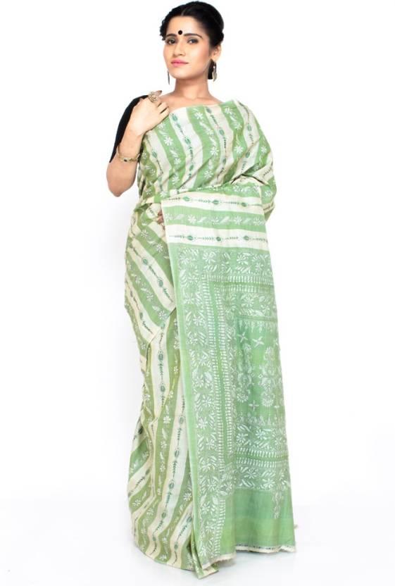 22598eac06 Boutique Rupkatha Embroidered Kantha Handloom Tussar Silk Saree (Light  Green)