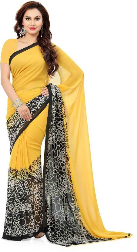 d65c1e8b5f9 Ishin Printed Bollywood Synthetic Georgette Saree (Yellow