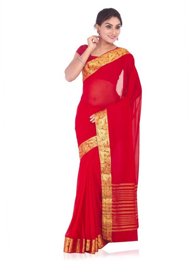 b0ffec294b Buy Roopkala Silks Woven, Striped Mysore Chiffon Gold, Pink Sarees ...
