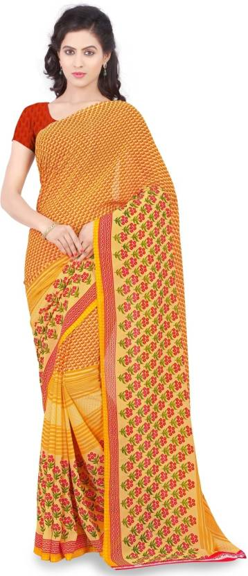 c25abd5bdd5 Buy Triveni Printed Fashion Georgette Yellow Sarees Online   Best ...