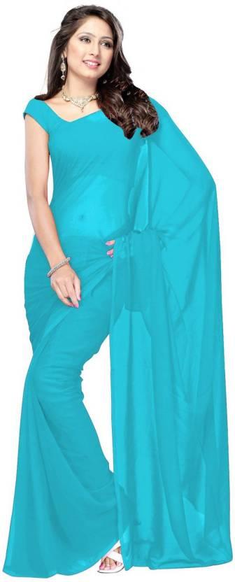 42af6a6eac0fa9 Buy Bollywood Designer Plain Fashion Georgette Light Blue Sarees ...
