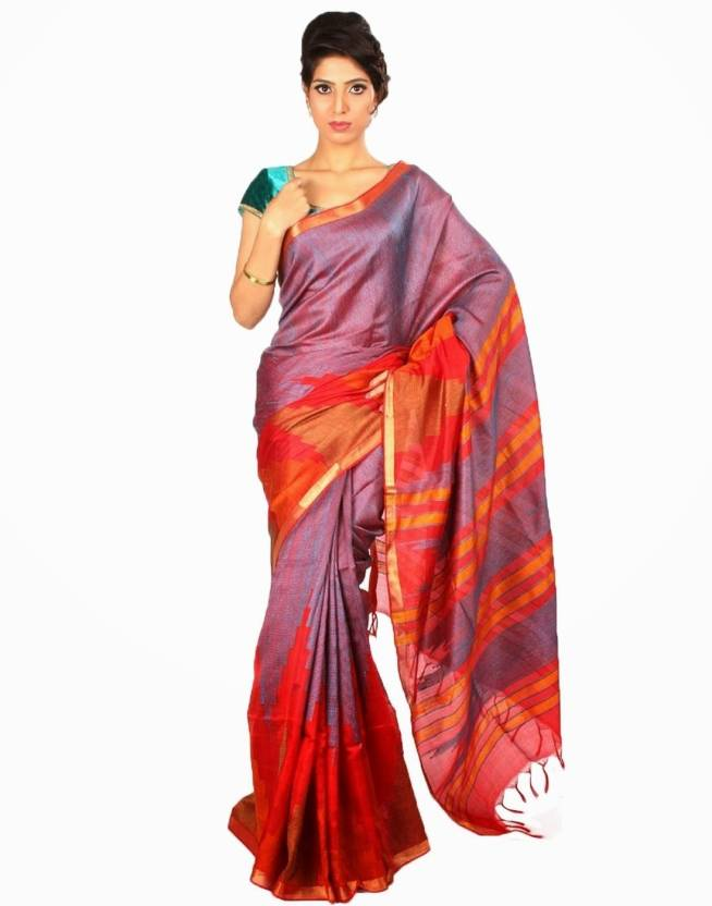 7e9f3ed381 Buy Samyakk Printed Silk Red, Purple Sarees Online @ Best Price In ...