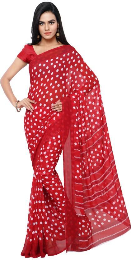 b1b087b9a8 Buy GoodFeel Polka Print Bollywood Synthetic Chiffon Red Sarees ...
