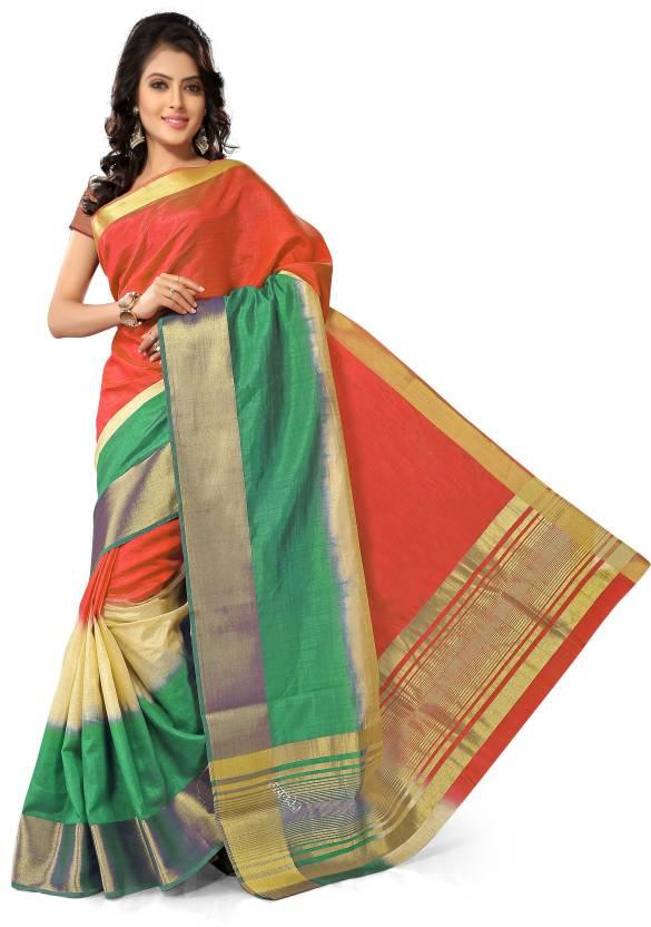652ef14315 Buy tehrin Plain Fashion Tussar Silk Green, White, Orange Sarees ...